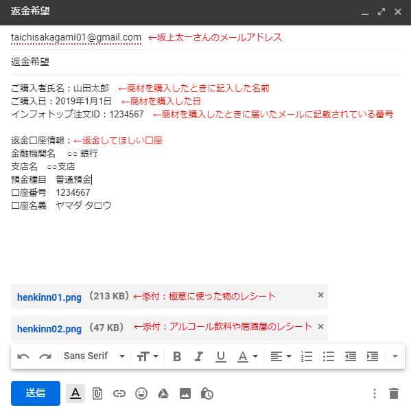 申請メールの書き方例